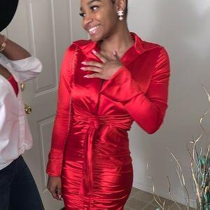 Red satin low cut mini dress (Fashion Nova)